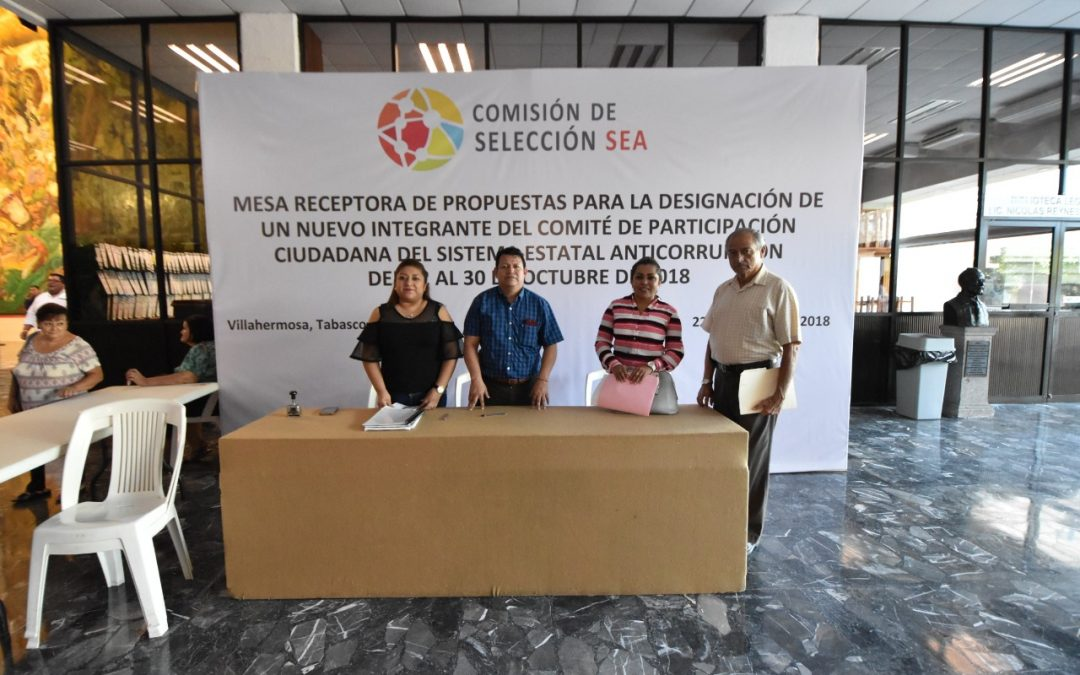 Concluye proceso de recepción de propuestas para designar un integrante del Comité de Participación Ciudadana del SEA