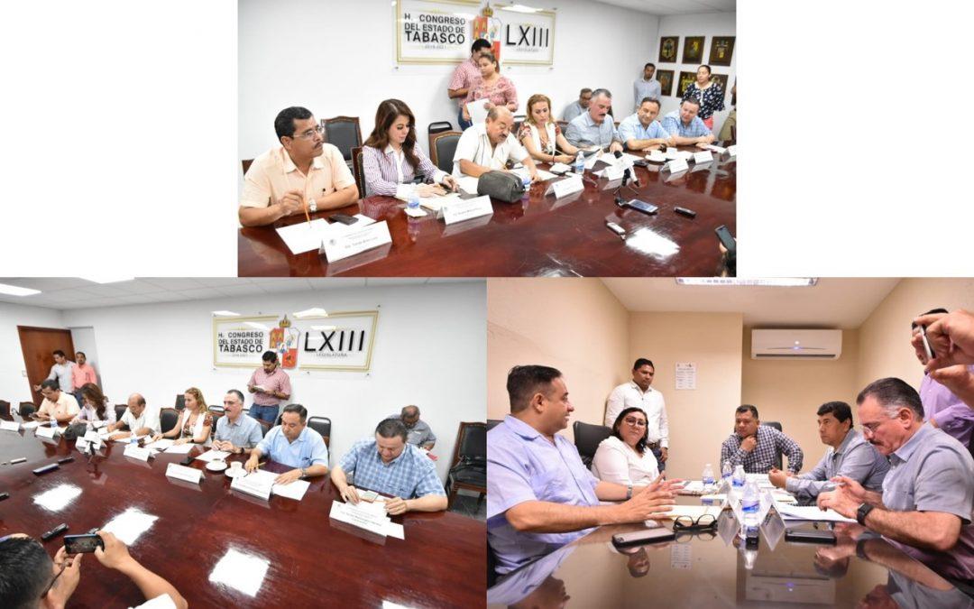 Aprueban en comisiones autorizar al Ayuntamiento de Centro la contratación de un empréstito, y reformas en materia financiera y de salud