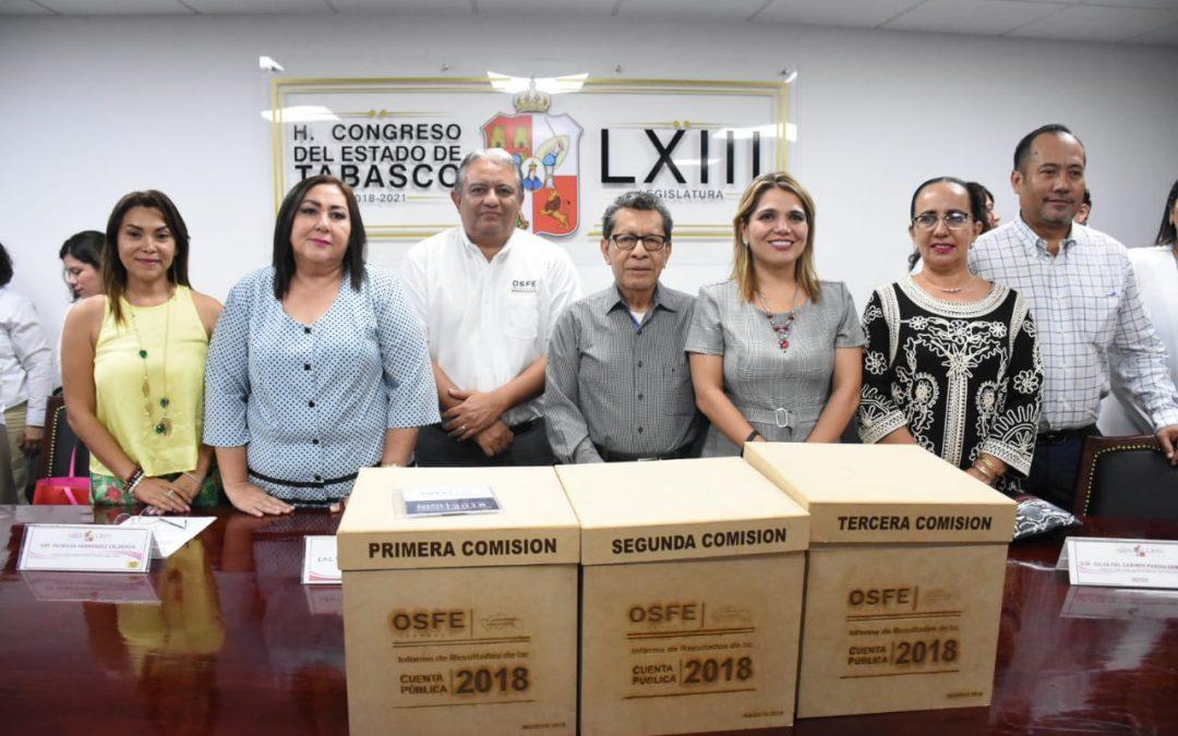 Recibe Congreso del Estado Informe de Resultados de las Cuentas Públicas 2018