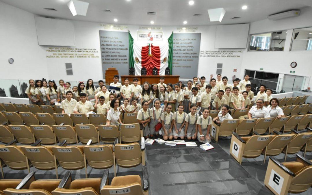 Fortalecen alumnos de primaria conocimientos sobre la conformación del Poder Legislativo