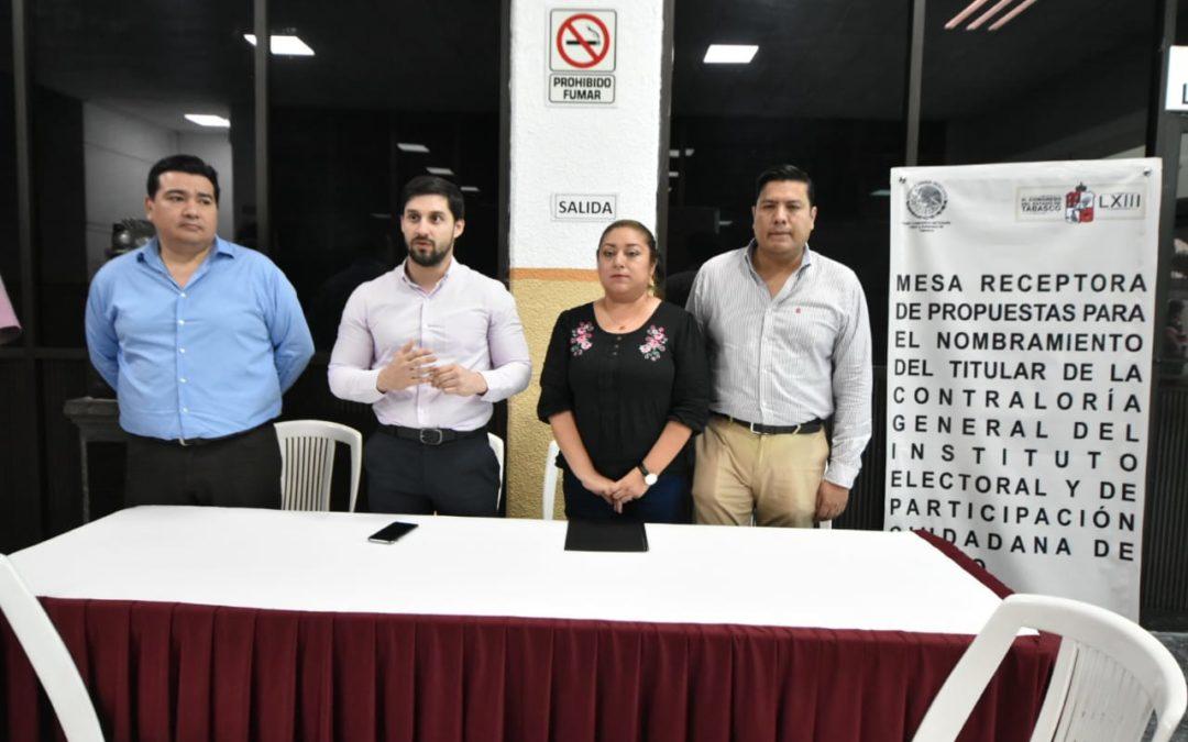 Concluye recepción de propuestas para ocupar Contraloría General del IEPC Tabasco