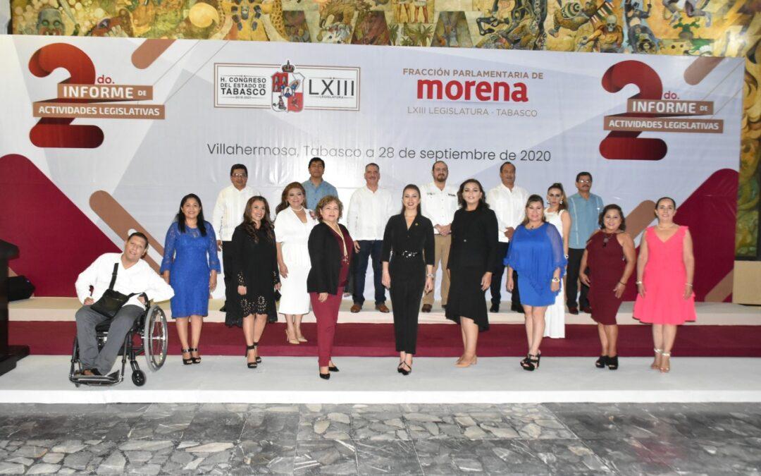Fracción parlamentaria de Morena rinde Segundo Informe de Actividades Legislativas